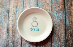 Ring Dish - Perfect Gift for Bride-to-Be, Custom Initials Engagement Gift for the Bride. $34.00, via Etsy.