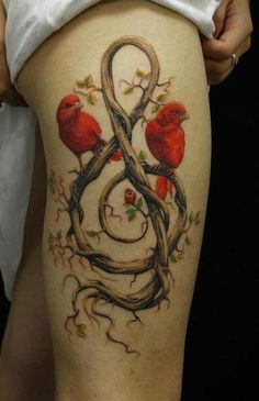 branch & root organic treble clef and birds #leg #thigh #tattoos