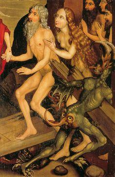 """""""El Tormento del Infierno"""", detalle del Retablo de los Dominicos. Por Martin Schongauer, circa 1475. http://iglesiadesatan.com/"""