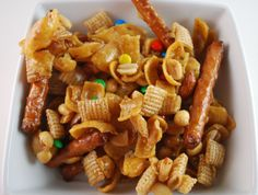 Frito snack mix with Chex cereal and M's.  Looks like a nice snack for the road.