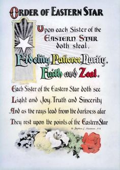 Antique Order of The Eastern Star Poem Print Ring Art Poster OES Masonic 8 5x11 | eBay