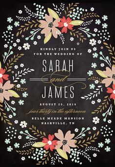 Floral Chalkboard Wedding Invitations #invitations #cards #paper