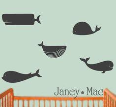 Whale Wall Decal - Modern Ocean Vinyl Sticker - Children's Bedroom Nursery Wall Decor Sticker - CS100A