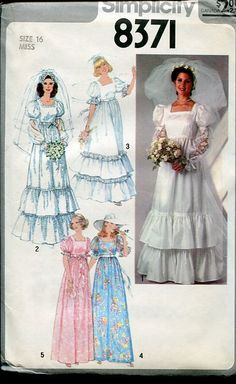 Sewing Patterns,Vintage,Out of Print,Retro,Vogue Simplicity McCall's,Over 7000 - Simplicity 8371 Retro 1970's Bridal Wedding Dress Gown Bridesmaids