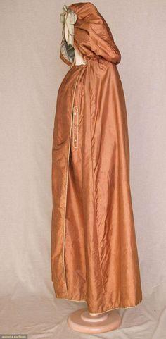 LADIES' HOODED LONG SILK CLOAK, 1790s