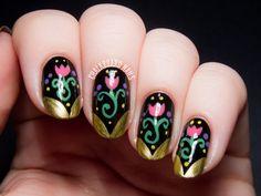 Anna Inspired Frozen Nail Art by @chalkboardnails