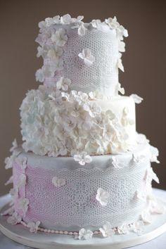 Delicate Lace & Hydrangea Floral Wedding Cake
