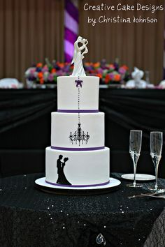 Creative Cake Designs  For a Halloween themed Wedding.  Extended height buttercream cake.