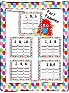 Fact Families 1-10 worksheets and centers $