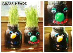 Grass Heads Craft & children's bible lesson about growing in grace/knowledge of Jesus!