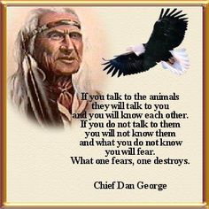What one fears, one destroys.  Chief Dan George  Native American Proverb