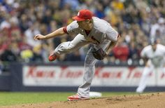 Shelby Miller pitches to the Milwaukee Brewers during the first inning. Cards won 6-1.  4-15-14