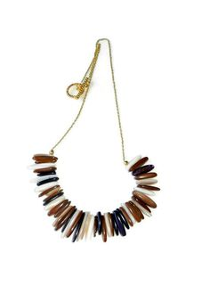 Brown Stick Shell Necklace on Gold Chain by CloudNineDesignz, $32.00