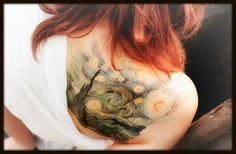 Van Gogh's Starry Night tattoo oh my gosh. I would love to get this someday! This is incredible! <3