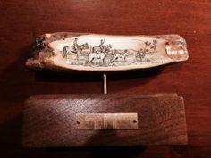 Mystery Artist Skip Powell Scrimshaw of a hunting scene