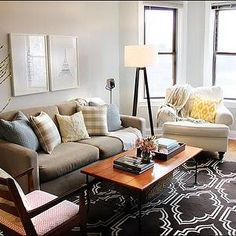 Live Creating Yourself - living rooms - West Elm, taupe, sofa, tripod, floor, lamp, chocolate, brown, Moroccan, tiles, rug, white, garden, stool, gray, walls, paint, color, living room, blue, silk, pillows, coffee table, white chair, art, trellis rugs, brown trellis rugs, West Elm Rug,