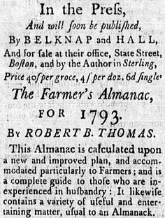 """A 1792 newspaper ad for """"The Farmer's Almanac,"""" published in the American Apollo (Boston, Massachusetts), 16 November 1792. Read more on the GenealogyBank blog: """"Organization & Preservation Tips for Genealogy Spring Cleaning."""" http://blog.genealogybank.com/organization-preservation-tips-for-genealogy-spring-cleaning.html"""