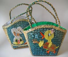 Vintage Easter Basket Woven Straw Duck and Bunny Rabbit by TAMMYMADEIT