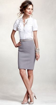 FOR WORK<3.soft gray pencil skirt, white mid-sleeve blouse with ruffle detailing, peep-toe pumps, belt, chunky necklace, and a wrist-full of silver bangles