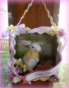 Easter bunny shadowbox ornament