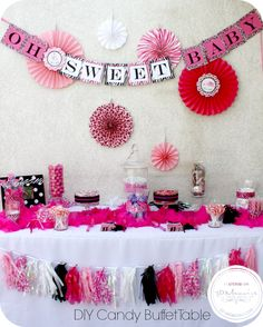 Check out this adorable DIY Baby Shower Candy Buffet on http://3d-memoirs.com! #DIY #babyshower #candybuffet