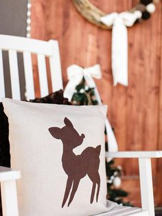 DIY Reindeer Pillow  - 8 Easy Front Porch Holiday Decorating Ideas  on HGTV