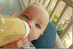 Breastmilk Smoothies: frozen breastmilk + peach baby food