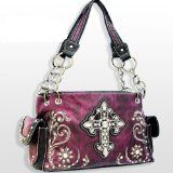 Purple Rhinestone Cross Purse