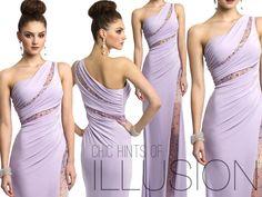 Camille La Vie lilac purple one shoulder illusion prom dress