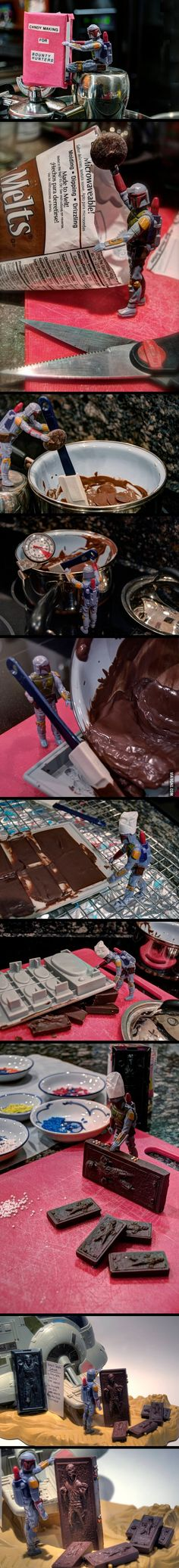 Boba Fett making chocolate Han Solos  This is the cutest thing ever!!!!