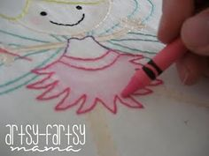 Color in embroidery with a crayon and iron to set the color (with a paper or stray piece of fabric on top). Interesting idea!