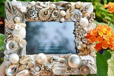 handmade recycled jewelry mosaic frame,  white and silver decorative frame