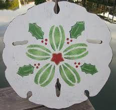 holly berry painted sand dollar