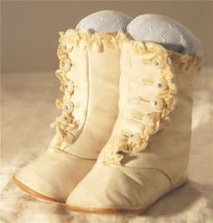 Victorian leather button baby booties.