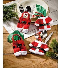 cubiertos de Papá Nöel decoración navidad, de papá, cubierto de, fieltro navidad, feltro natal