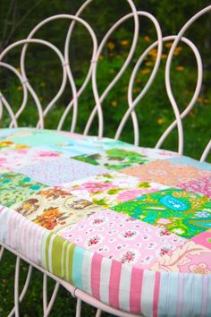 patchwork bench cushion...--my granny had one on her porch swing. Handmade, of course. <3