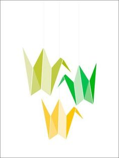 Origami Cranes Mobile Canvas Wall Art