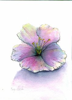 Simple Watercolor Flowers | Original watercolor painting -Simple expressions - flower bloom