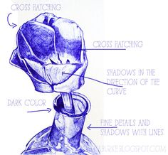 great tips and examples for drawing with a ball point pen