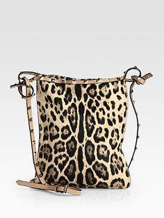 Valentino - Rockstud Leopard Hair Calf Crossbody Bag