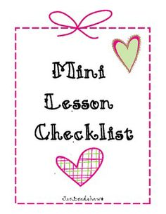 FREE Mini Lesson Checklist.  This is great for any subject area of grade level. #mini lesson #plan #planning #lesson #lessonplan #lesson plan