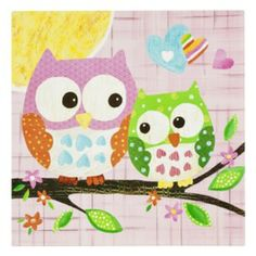 """Oopsy Daisy too Love n Nature Owl Pair Wall Art - 21x21"""""""