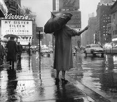 New York City rainy street scene,1955.
