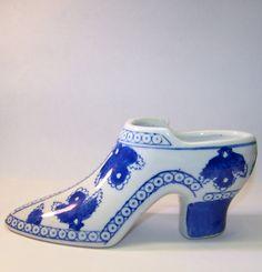 Blue and White Leaf Ceramic Porcelain Shoe