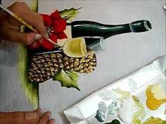 Como pintar Champanhe e Pinhas - Painting Christmas - YouTube