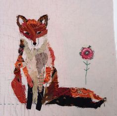 Mandy Pattullo - Fox, Unframed appliqued and hand embroidered fox