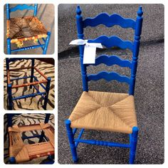 This is a rushed seat that I just put into this old ladder back chair.