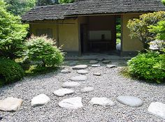 "Stepping Stones (Tobi-ishi) are said to be part practical and part scenic The arrangement of the stones controls the pace as one proceeds through the garden and sets the mood, whether formal, semiformal or informal. Trump stones or yaku-ishi are also used to highlight prominent features of the garden scenery. The first trump stone is the *fumi-ishi placed by the guest's entrance to the *chashitsu"". There are many ways of arranging stepping stones: read on"