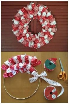 holiday, christmas wreaths, polka dots, valentine day, bow ties, wire hangers, homemade bows, ribbon wreaths, valentine wreath