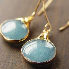 Blue Opal pendant earrings. Love!